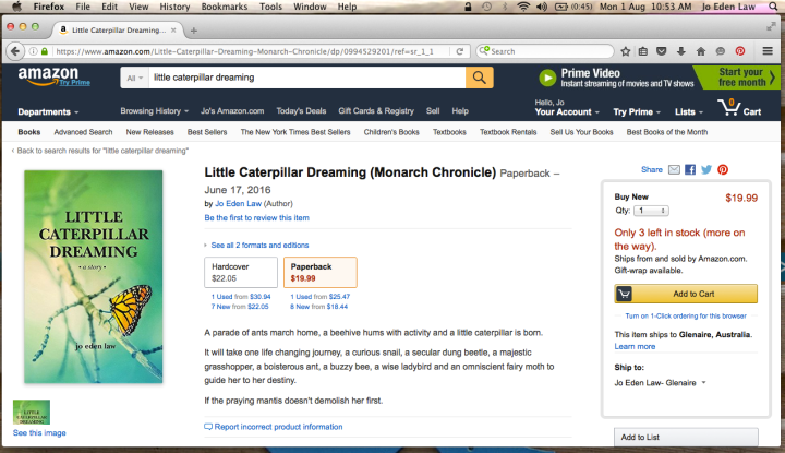 Amazon Backorder Little Carterpillar Dreaming by Jo Eden Law 2016-08-01 at 10.53.49 AM